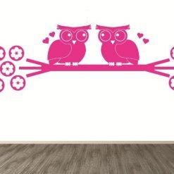 Vinilo decorativo Búhos de amor