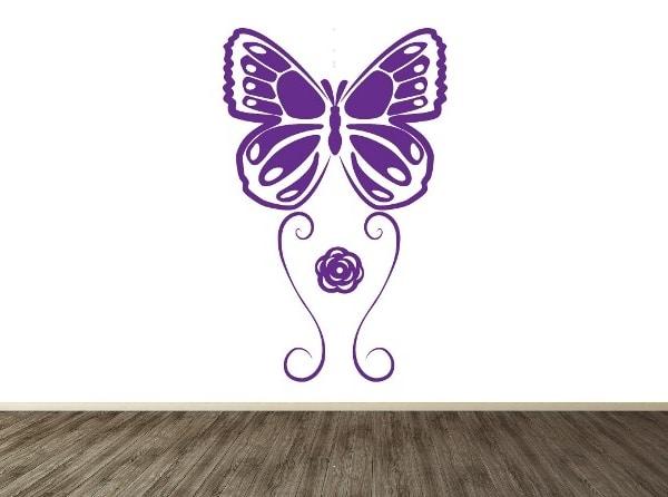 Vinilo mariposa y flor