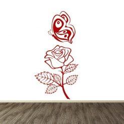 Vinilo de Rosa y mariposa