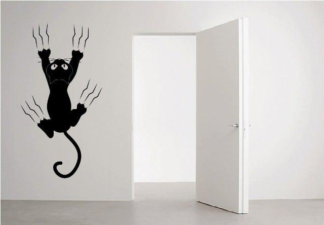 Gato en pared creando vinilos decorativos medellin - Vinilos decorativos gatos ...