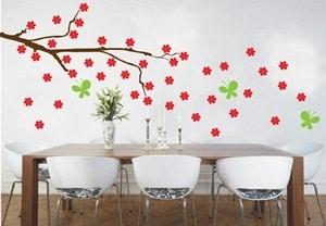 vinilo decorativo viento y flores - copia