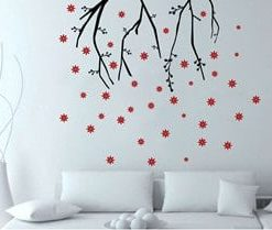 vinilos adhesivos decorativos con flores cayendo