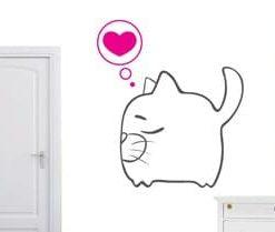 vinilo decorativo gato amor