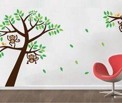 vinilo decorativo monos en rama