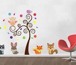 vinilo decoratico árbol con animales