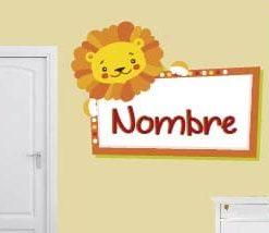 vinilo decoraivo león con nombre