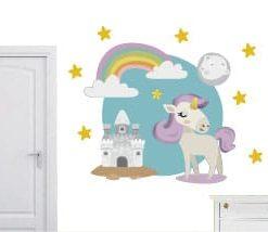 vinilo decorativo unicornio con arociris