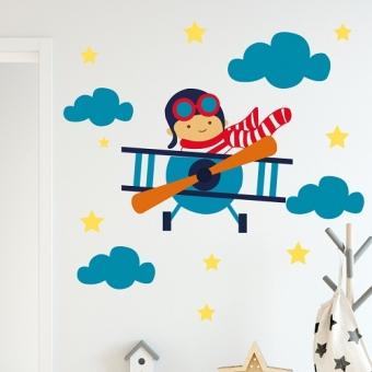 vinilo decorativo ploto de avion niño