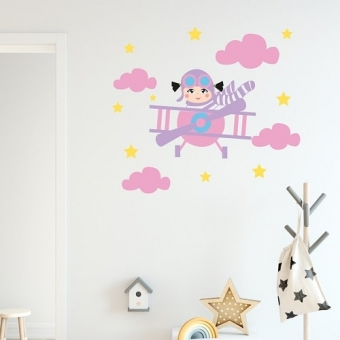 vinilo decorativo avion nubes niña