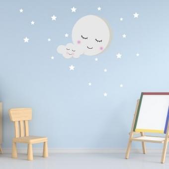 vinilo decorativo luna y estrellas