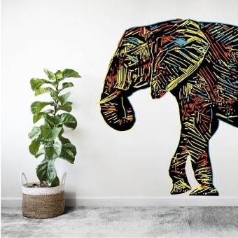 vinilo decorativo elefante en lineas