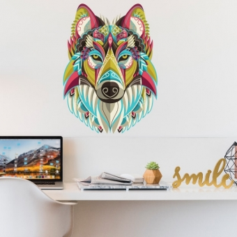 vinilo decorativo lobo colorido