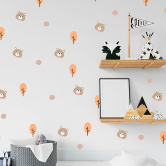 vinilo decorativo textura arbolitos y ositos